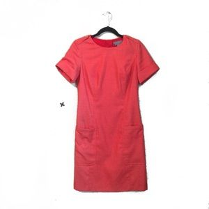Eccoci Coral Pink Work Sheath Flattering Dress